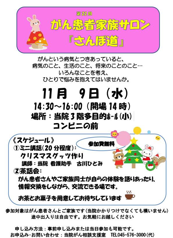 がんサロン第22-回ポスター11月9日